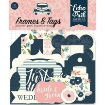 Echo Park Just Married Tags & Frame Ephemera Die Cut Cardstock Pieces JM153025