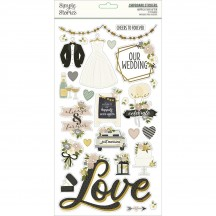 Simple Stories Happily Ever After Self Adhesive Chipboard Shape Stickers 15515