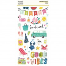 Simple Stories Sunkissed Self Adhesive Chipboard Shape Stickers 15115