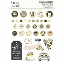 Simple Stories Happily Ever After Self-Adhesive Brads & Chipboard Pieces 15522