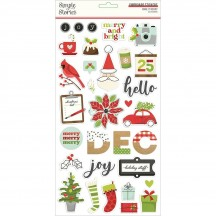 Simple Stories Make It Merry Christmas Self Adhesive Chipboard Shape Stickers 15715