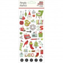 Simple Stories Make It Merry Christmas Puffy Stickers 15722