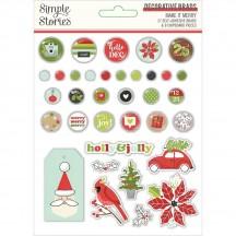 Simple Stories Make It Merry Christmas Self-Adhesive Brads & Chipboard Pieces 15723