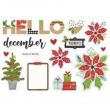 Simple Stories Make It Merry Christmas Hello December Page Pieces Die-Cut Cardstock Embellishments 15729