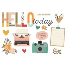 Simple Stories Hello Today Page Pieces Die-Cut Cardstock Embellishments 15925