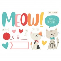 Simple Stories Meow Page Pieces Die-Cut Cardstock Embellishments 15929