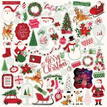 "Echo Park Merry & Bright 12""x12"" Element Shape Christmas Stickers MB160014"