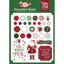 Echo Park Merry & Bright Decorative Christmas Brads & Chipboard Pieces MB160020