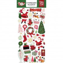 Echo Park Merry & Bright Self Adhesive Chipboard Shape Christmas Stickers MB160021