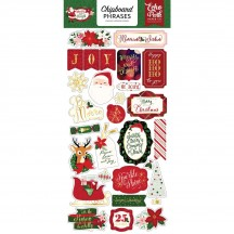 Echo Park Merry & Bright Self Adhesive Chipboard Phrase Christmas Stickers MB160022