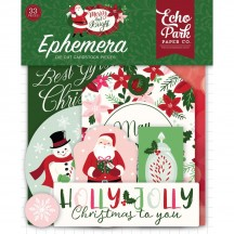 Echo Park Merry & Bright Ephemera Die Cut Cardstock Christmas Pieces MB160024