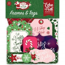 Echo Park Merry & Bright Frames & Tags Die Cut Cardstock Ephemera Christmas Pieces MB160025