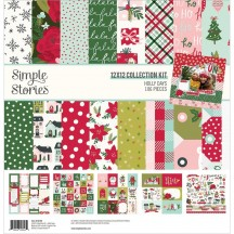 """Simple Stories Holly Days Christmas 12""""x12"""" Collection Kit 16100"""