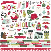 """Simple Stories Holly Days Christmas 12""""x12"""" Cardstock Stickers 16101"""