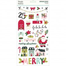 Simple Stories Holly Days Christmas Self Adhesive Chipboard Shape Stickers 16115