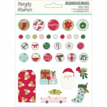 Simple Stories Holly Days Christmas Self-Adhesive Brads & Chipboard Pieces 16122