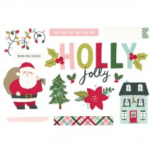 Simple Stories Holly Days Christmas Holly Jolly Page Pieces Die-Cut Cardstock Embellishments 16127
