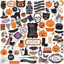 "Echo Park BeWitched 12""x12"" Element Shape Halloween Stickers BE166014"