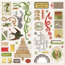 "Bo Bunny Christmas Collage 12""x12"" Self Adhesive Chipboard Accents 16615476"
