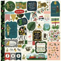 "Echo Park Animal Safari 12""x12"" Element Shape Stickers ZOO167014"