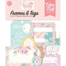 Echo Park Hello Baby It's A Girl Frames & Tags Die Cut Cardstock Ephemera Pieces BG171025