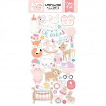 Echo Park Hello Baby It's A Girl Self Adhesive Chipboard Accents Shape Stickers BG171021