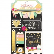 Bo Bunny You're Invited Self Adhesive Glittered Layered Chipboard 18209984