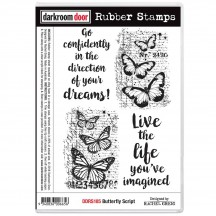 Darkroom Door Butterfly Script Cling Foam Mounted Rubber Stamps - DDRS185