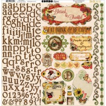 "Bo Bunny Enchanted Harvest 12""x12"" Alpha & Element Combo Stickers 18803054"