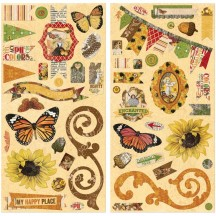 "Bo Bunny Enchanted Harvest 12""x12"" Self Adhesive Chipboard Accents 18815059"
