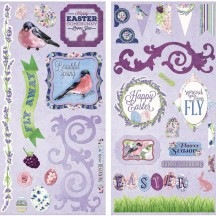 "Bo Bunny Secret Garden 12""x12"" Self Adhesive Chipboard Accents 19515383"