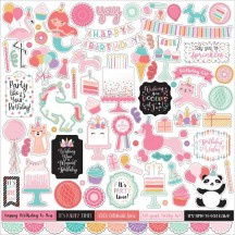 "Echo Park It's Your Birthday Girl 12""x12"" Element Shape Stickers TBG200014"
