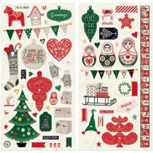 """Bo Bunny Merry & Bright 12""""x12"""" Self Adhesive Chipboard Christmas Accents 20315665"""