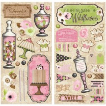"Bo Bunny Sweet Moments 12""x12"" Self Adhesive Chipboard Accents 20415688"