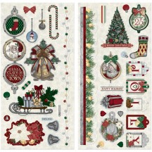 "Bo Bunny Tis The Season 12""x12"" Self Adhesive Chipboard Christmas Accents 20515711"