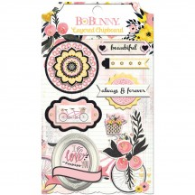 Bo Bunny Petal Lane Self Adhesive Glittered Layered Chipboard 21509011
