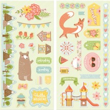 "Bo Bunny Weekend Adventures 12""x12"" Self Adhesive Chipboard Accents 21815068"