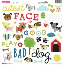 "Bella Blvd Cooper Dog 12""x12"" Ciao Chip Self Adhesive Chipboard Accents 2249"