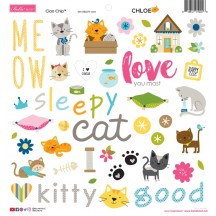 "Bella Blvd Chloe Cat 12""x12"" Ciao Chip Self Adhesive Chipboard Accents 2274"