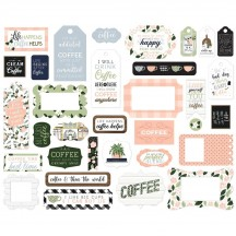 Echo Park Coffee & Friends Frames & Tags Ephemera Die Cut Cardstock Pieces CF230025