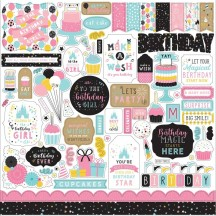 "Echo Park Magical Birthday Girl 12""x12"" Element Shape Stickers MBG231014"