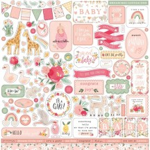 "Echo Park Welcome Baby Girl 12""x12"" Element Shape Stickers WBG233014"