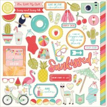 """Photoplay For The Love Of Summer 12""""x12"""" Element Shape Stickers FS2533"""