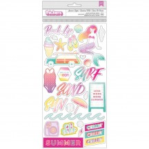 Pink Paislee Summer Lights Chipboard Accent & Phrase Thickers 310269