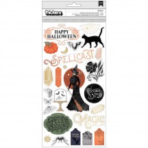 Pink Paislee Spellcast Chipboard Accent & Phrase Halloween Thickers 310534