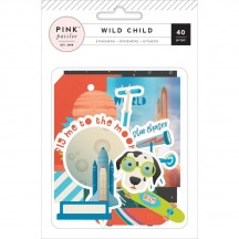 Pink Paislee Wild Child Boy Die Cut Cardstock Ephemera Pack 310588