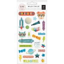 Pink Paislee Wild Child Boy Puffy Stickers 310589