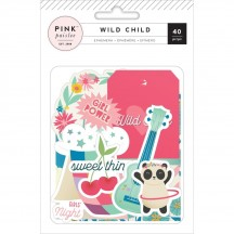 Pink Paislee Wild Child Girl Die Cut Cardstock Ephemera Pack 310594