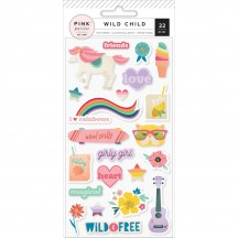 Pink Paislee Wild Child Girl Puffy Stickers 310595