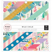 """Pink Paislee Wild Child Girl 6""""x6"""" Single-Sided Paper Pad - 36 Sheets 310599"""